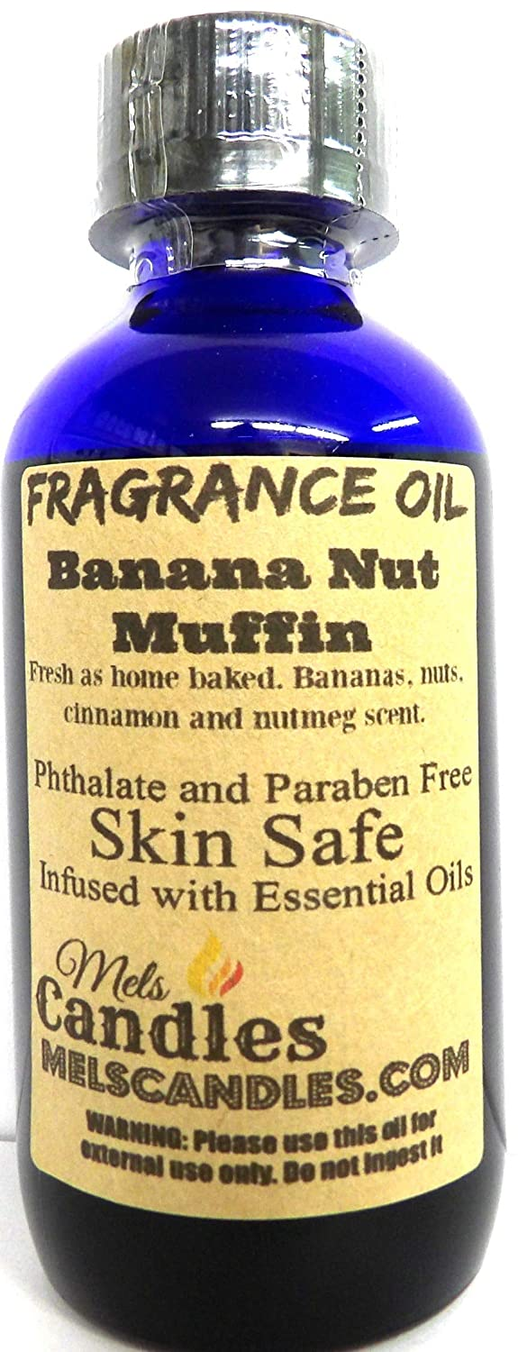 Mels Candles & More Banana Nut Muffin 4 Ounce / 118.29 ml Blue Glass Bottle of Skin Safe Fragrance Oil/Perfume Oil