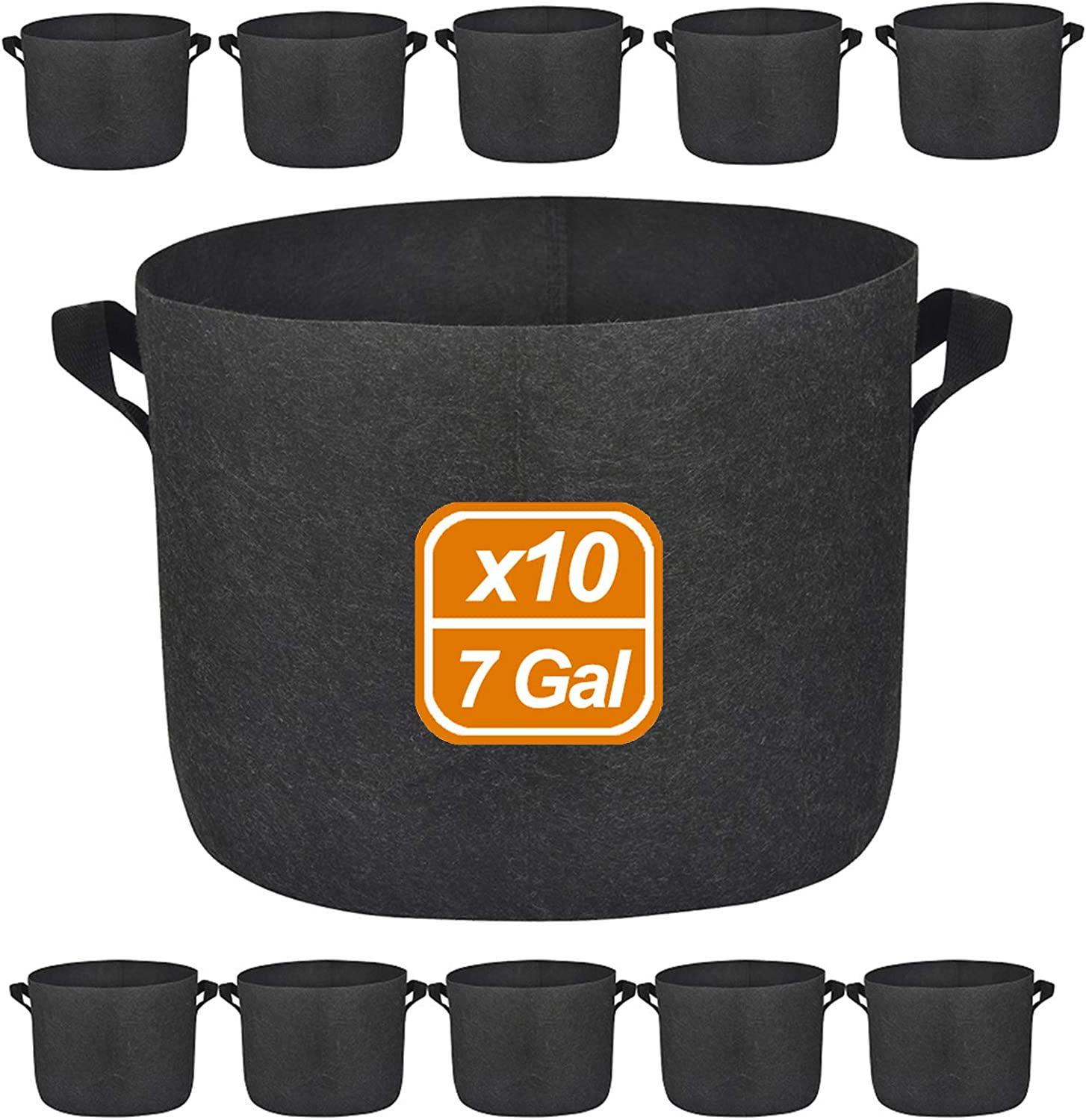 10 Pack 7 Gallon Premium Grow Bags, Heavy Duty Nonwoven Fabric Plants Pots with Handles, Indoor & Outdoor Grow Containers for Vegetables and Fruits