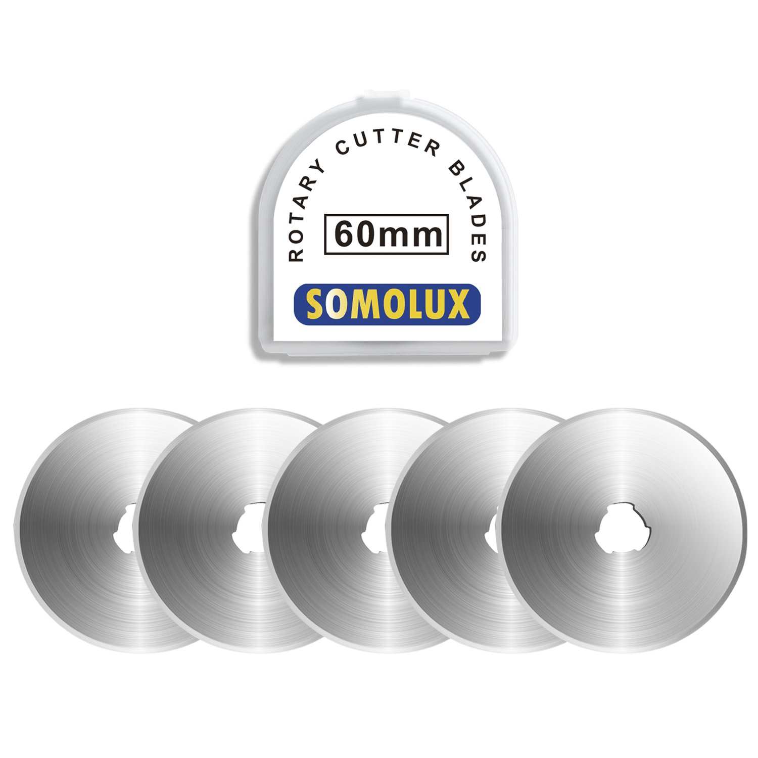 SOMOLUX 60mm Rotary Blades 5 Pack Fits OLFA,Fiskars,Truecut,DAFA Cutter Replacement, Quilting Scrapbooking Sewing Arts Crafts,Sharp and Durable