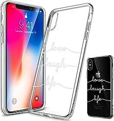 Girlscases® | iPhone XS Hülle, iPhone X / 10 Hülle | Mit coolen Spruch Aufdruck Motiv | Love-Laugh-Life | Case Transparente Schutzhülle | Farbe: weiß |