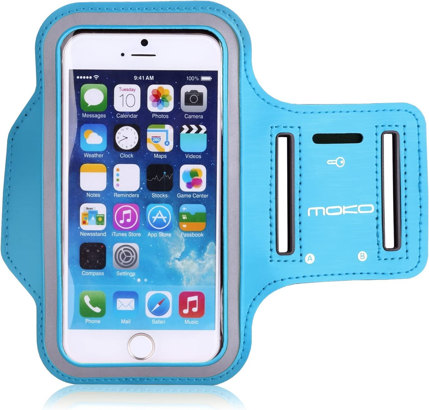 MoKo Phone Armband, Water Resistant Running Cell Phone Armband with Key Holder Adjustable Band Compitable with iPhone 11 Pro, X, Xs, 8, 7, 6, 6s, 5s, 5c, SE, 5, 4S,4 for Walking Fitness, Light Blue