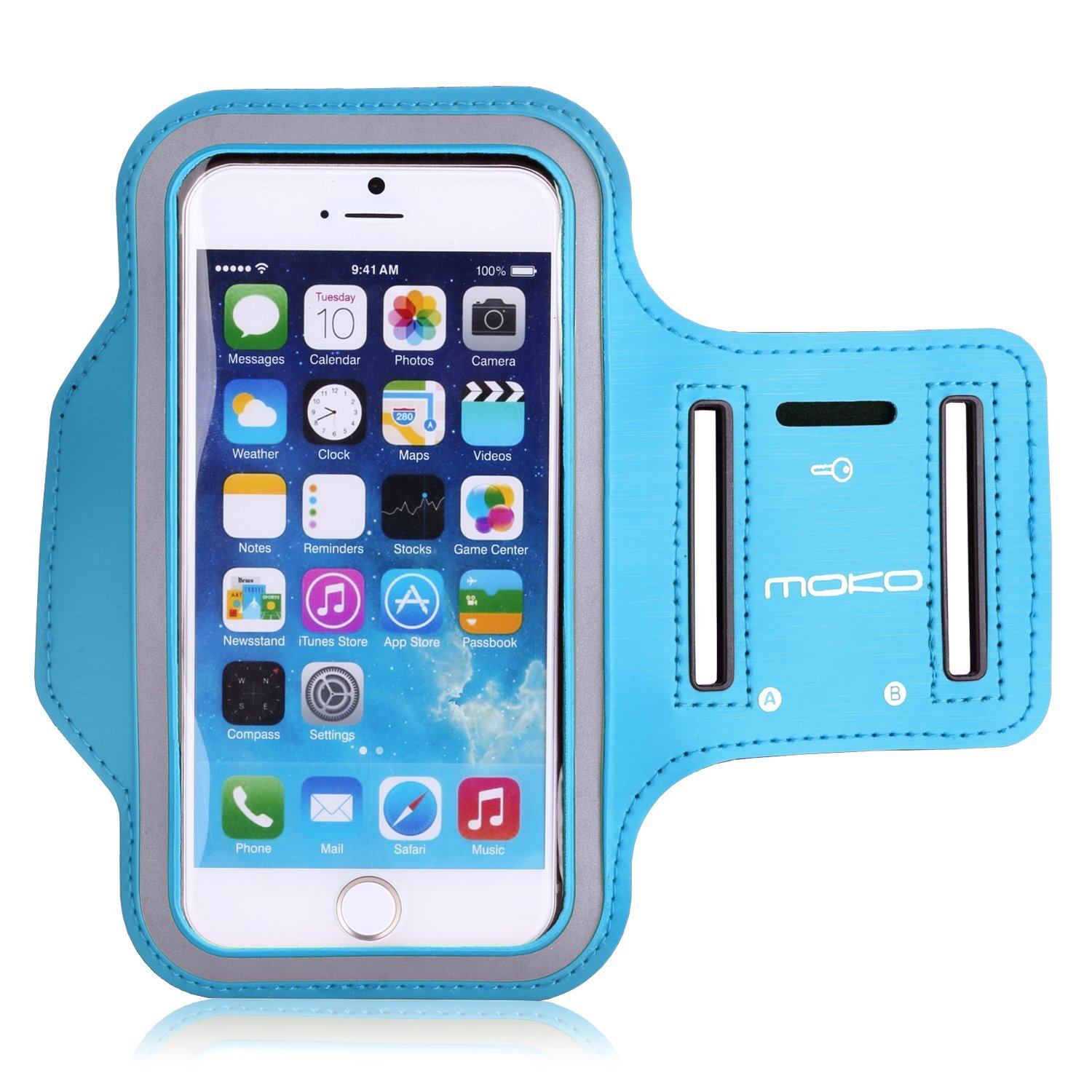 iPhone 6s / iPhone 6 Armband, MoKo Sweatproof Sports Running Armband Workout Arm Band Cover for iPhone 6S, 6, 5S, 5, Galaxy S7, Moto G, BLU 5.0, White (Fits Arm Girth 10.8-16.5)