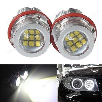 bslighting 190 W CREE LED Angel Eyes luz bombilla Canbus BMW E39 E60 E61 E87 E53 E63 E65 E83 X3: Amazon.es: Coche y moto
