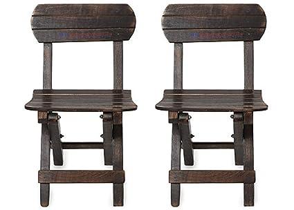 Woodykart Antique Wooden Folding Chair For Kids Antique Black