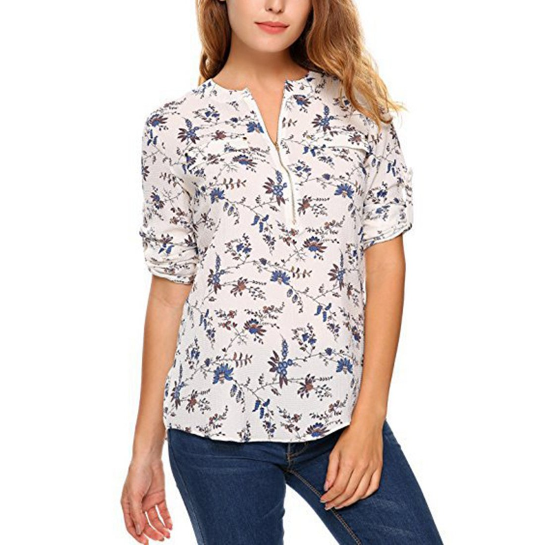 Shinekoo Women Casual Long Sleeve Chiffon Blouse Tops Shirt with Zipper:  Amazon.co.uk: Clothing