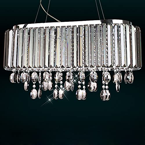 Jiuzhuo Oval 8-Light Crystal Chandelier Pendant Lighting Hanging Ceiling Fixture Smokey Gray Crystal