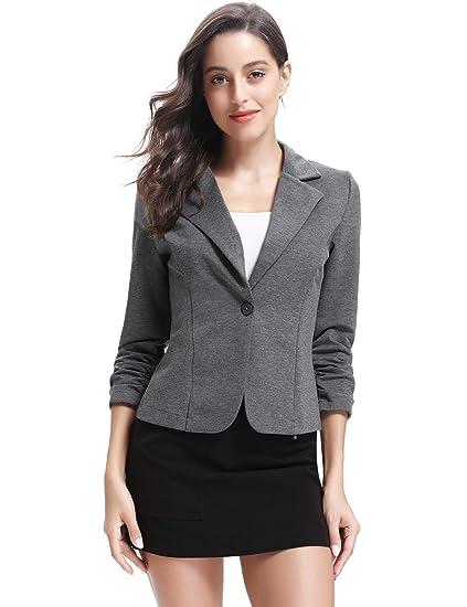 8d5aee031c8c Blazer Femme Veste avec Boutons Costume de Bureau Gilet Elégant Casual  Manches 3 4 Jacket