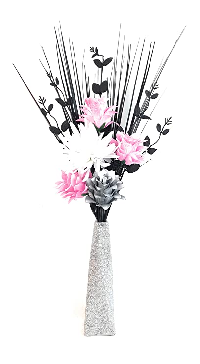 Handmade Artificial Silk Pink Dragonwhite Silver Flowers In