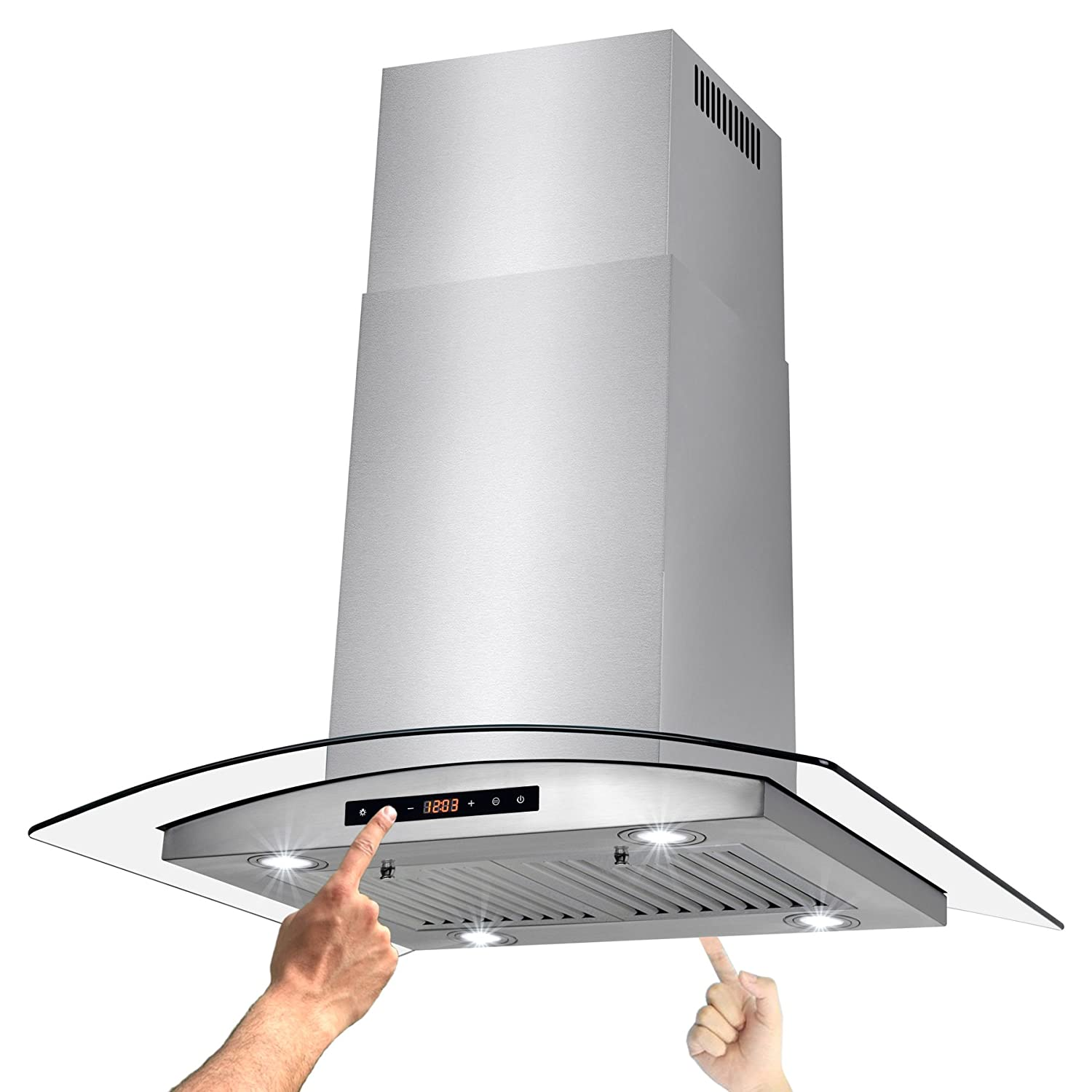 AKDY 30 Island Mount Stainless Steel Tempered Glass Kitchen Cooking Fan Range Hood Vent w/Dual Side Touch Control RH0305