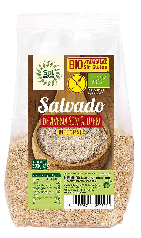 Sol Natural Salvado de Avena, sin Gluten - Paquete de 6 x 300 gr - Total: 1800 gr