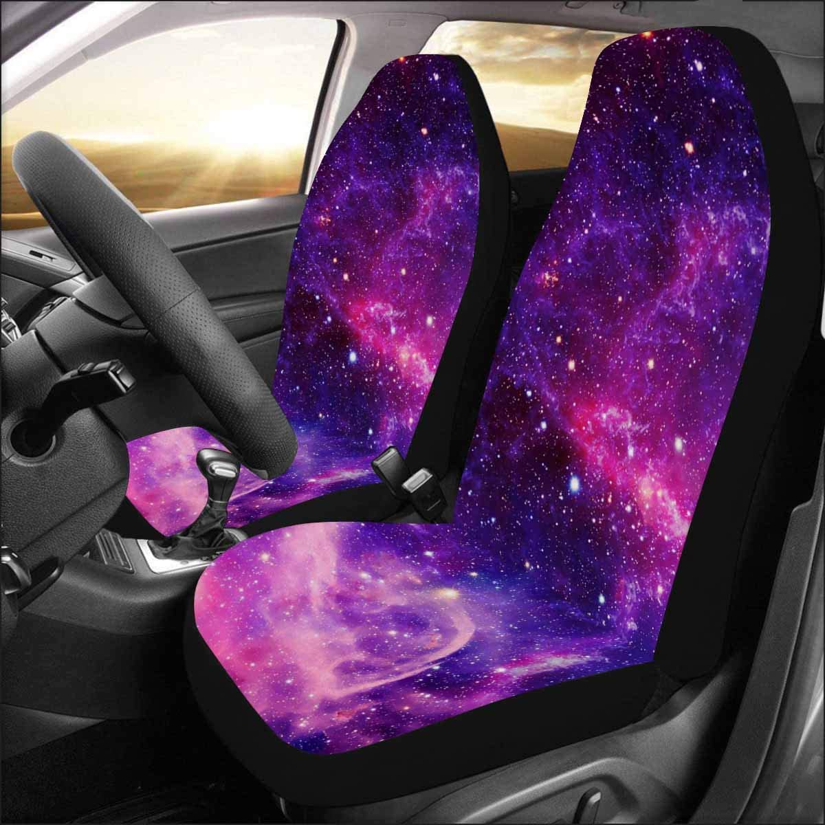TSVAGA Blue Galaxy Universe Car Seat Covers Full Set Universal Auto Seats Protector Breathable Cover Case Elastic 4PC Automotive Accessories Front and Rear Backseat Decor Fit Most Vehicle
