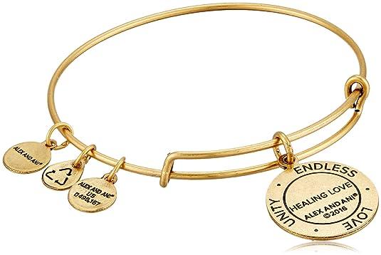 467b6205e Amazon.com: Alex and Ani Healing Love Expandable Rafaelian Gold-Tone Bangle  Bracelet: Jewelry