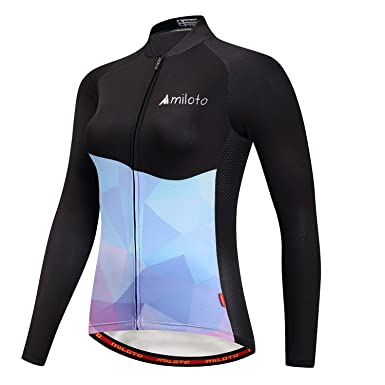 2f0a8276d Image Unavailable. Image not available for. Color  MILOTO Women s Cycling  Jersey Long Sleeve Reflective Biking Jacket