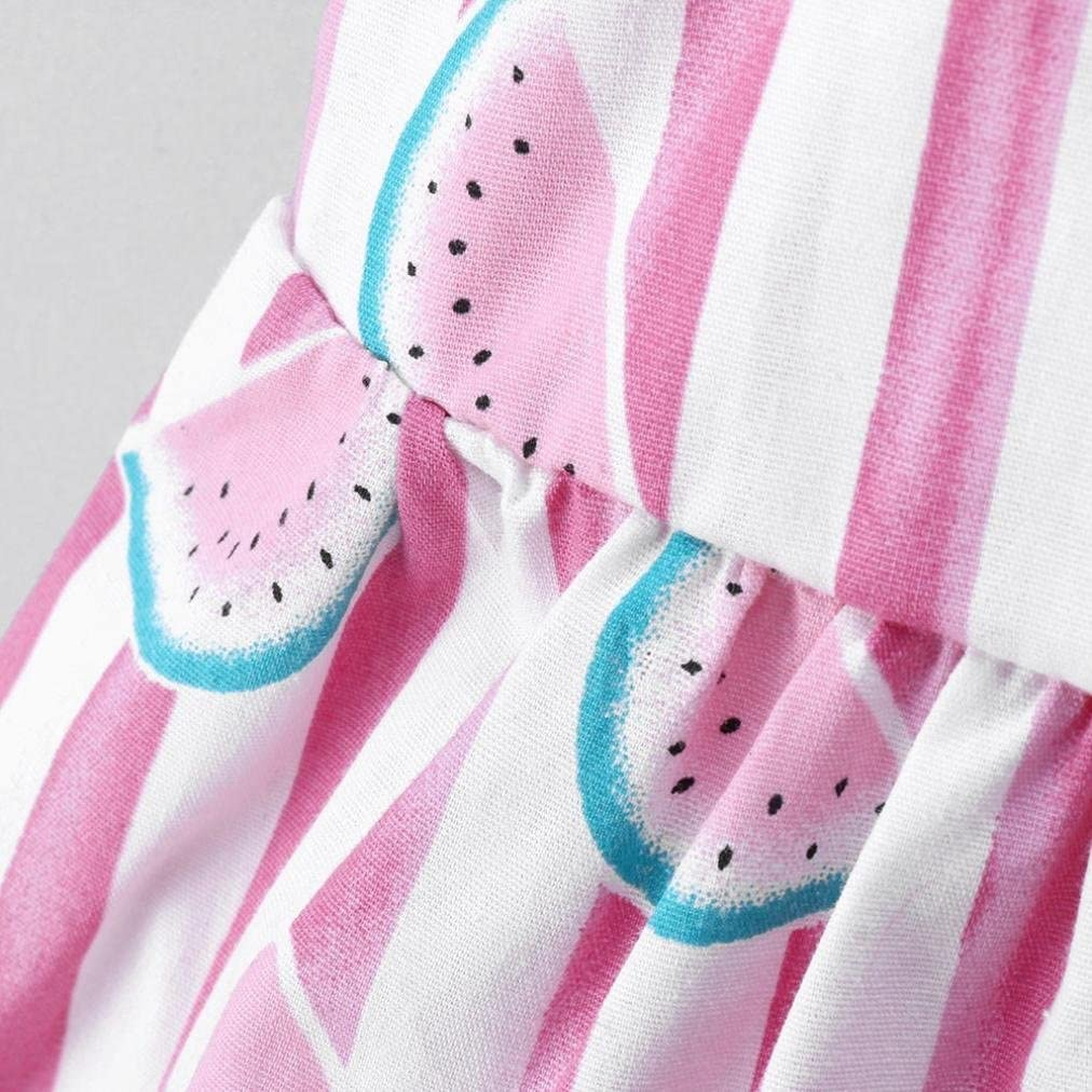 Dinlong Toddler Newborn Baby Girls Clothes Party Dress Sleeveless Big Bow Strap Fruit Striped Print Princess