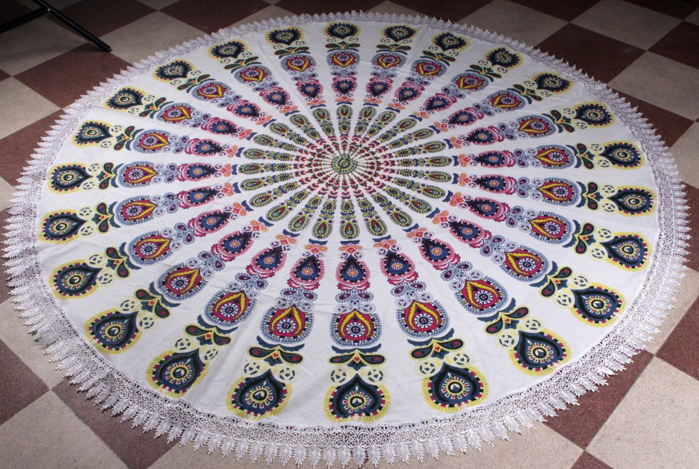 Mandala de ganchillo Roundie Beach manta tapiz indio playa toalla de flecos, Hippy Boho Gypsy algodón mantel: Amazon.es: Hogar