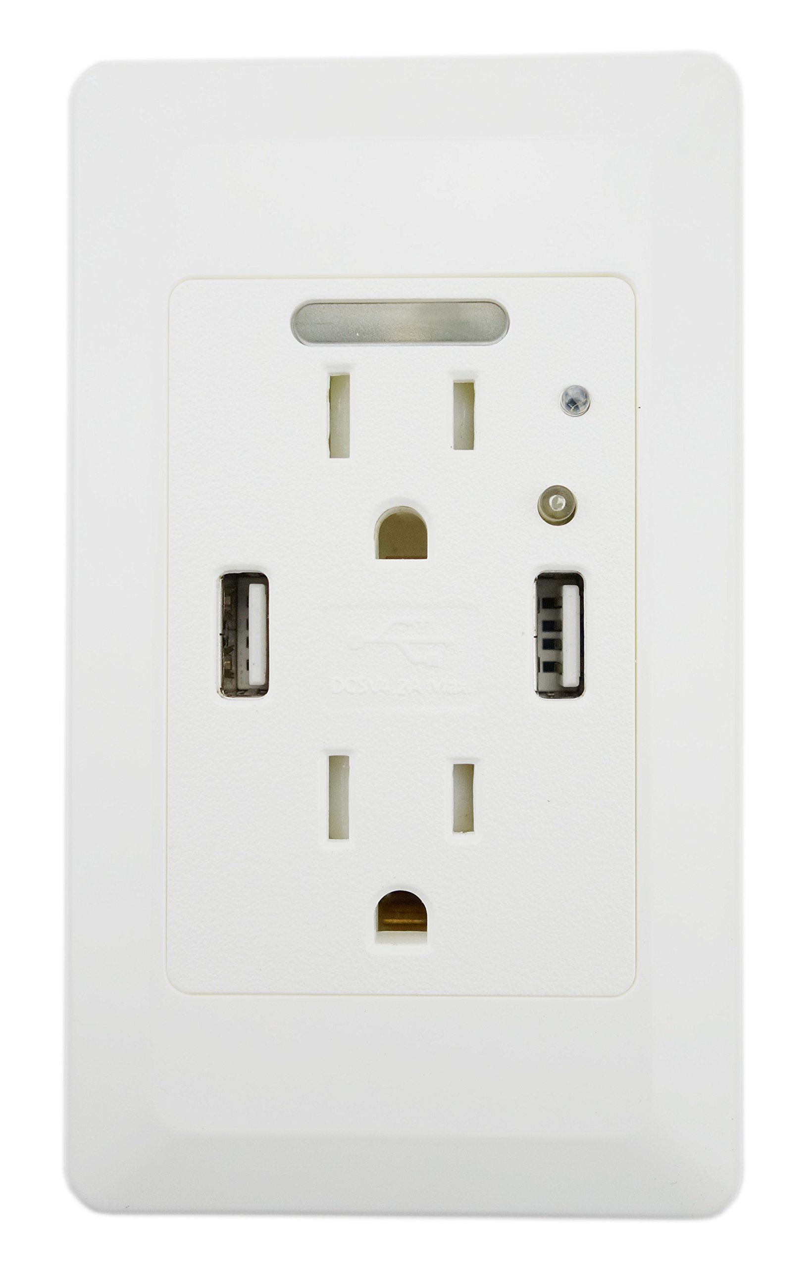 YOPI 4.2A High Speed Dual USB Charger , 15A Tamper Resistant Wall Receptacle 2 Outlets Band Panel Night Light ,White ,ETL Listed