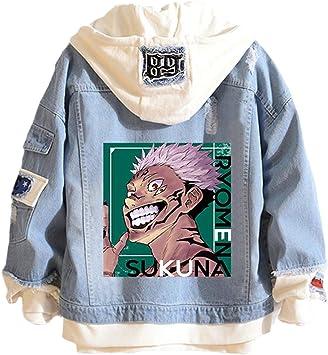 メンズレディース呪術廻戦ジャケットフード付きパーカースウェットシャツ厚手のコート3Dプリント龍門スクナファッションデニムジャケット
