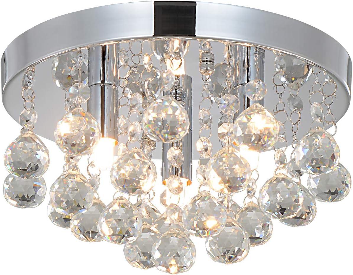 Natsen® LED Kristall Deckenleuchte Deckenlampe Hängeleuchte 3-flammig Ø 25cm G9 Lieferung ohne Leuchtemittel [Energieklasse A++]: Amazon.de: Beleuchtung - Deckenleuchte Kristall