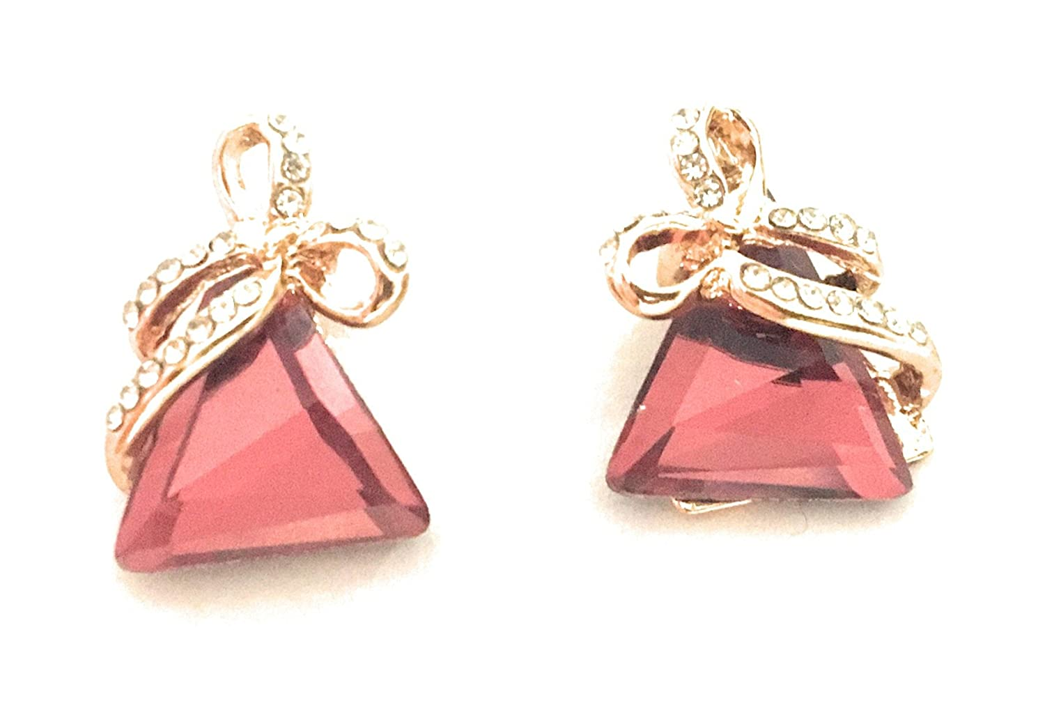 Maroon//Red Glitz Hot Fashion Exquisite Crystal Butterfly Stud Earrings for Girls//Women