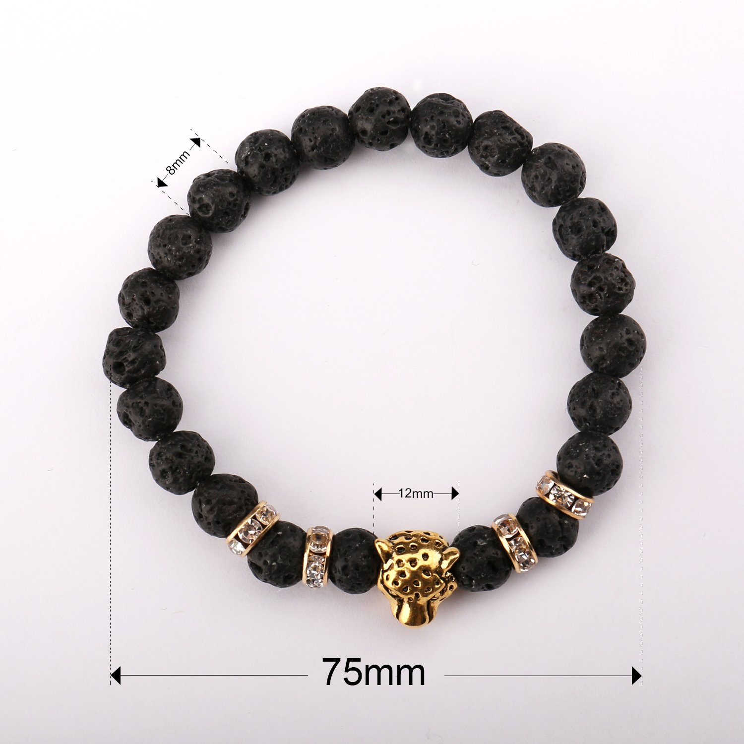 UHIBROS Natural Energy Stone Beads Bangle Lava Stone Gemstone Mens Womens Bracelet, Leopard Head, Gold Silver