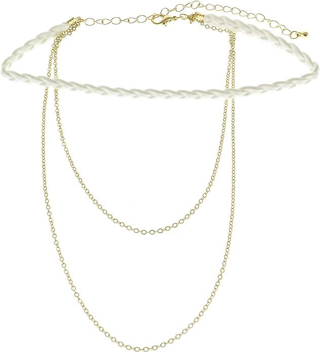 Mi Amore Collar-Necklace Gold-Tone//White