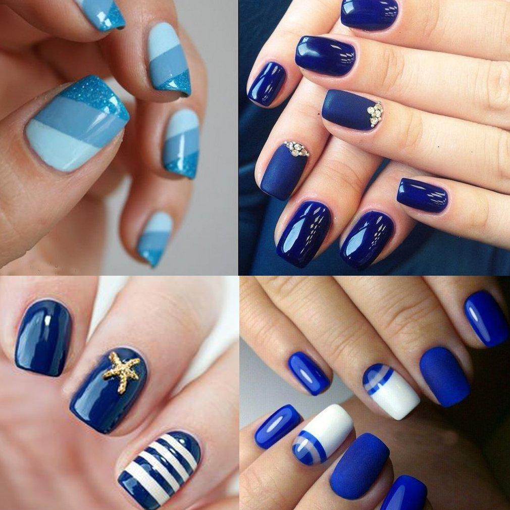 Amazon.com: CLAVUZ 6pcs Gel Nail Polish Set Blue Color Collection ...