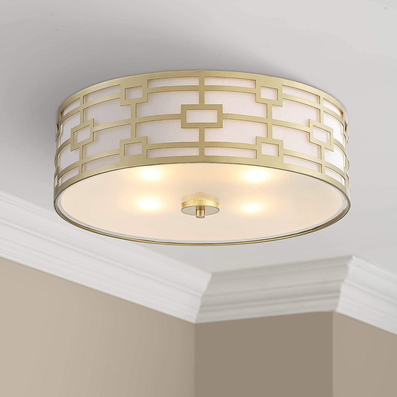 Paulina Modern Art Deco Ceiling Light Flush Mount Fixture Gold 18 Wide Open Grid Fabric Drum Shade For Bedroom Kitchen Living Room Hallway Bathroom Possini Euro Design Amazon Com