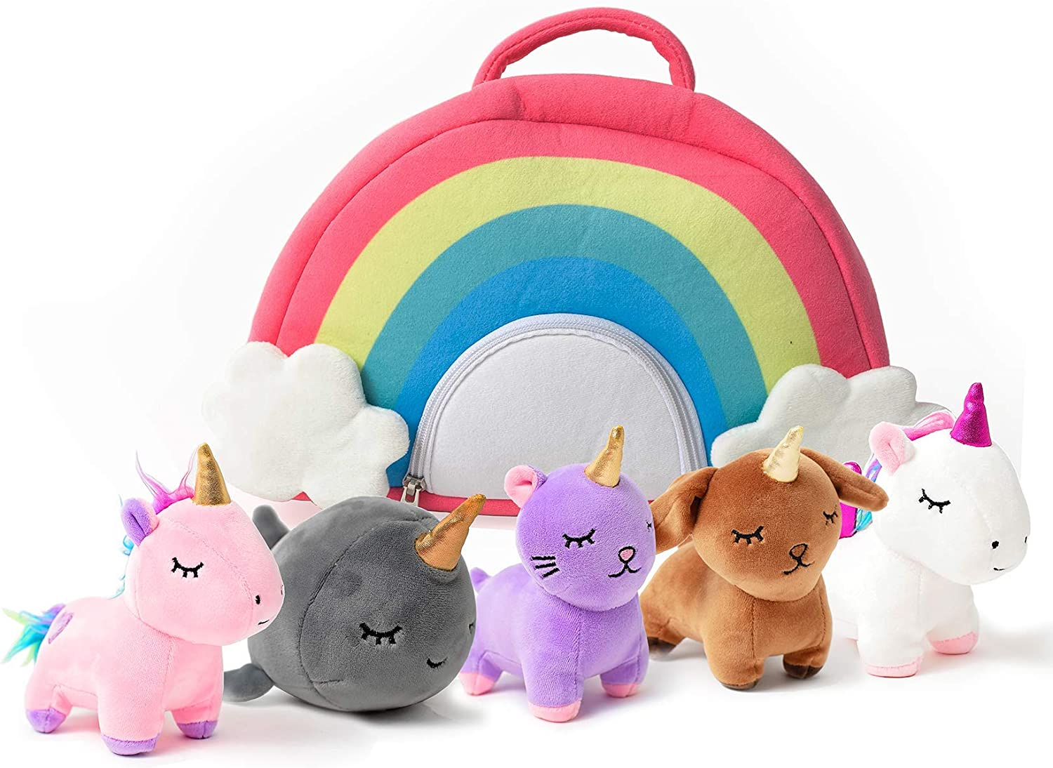 Pixie Crush Unicorn Toys Stuffed Animal Gift Plush Set with Rainbow Case – 5 Piece Stuffed Animals with 2 Unicorns, Kitty, Puppy, and Narwhal – Toddler Gifts for Girls Aged 3, 4, 5 ,6 ,7, 8 yr olds