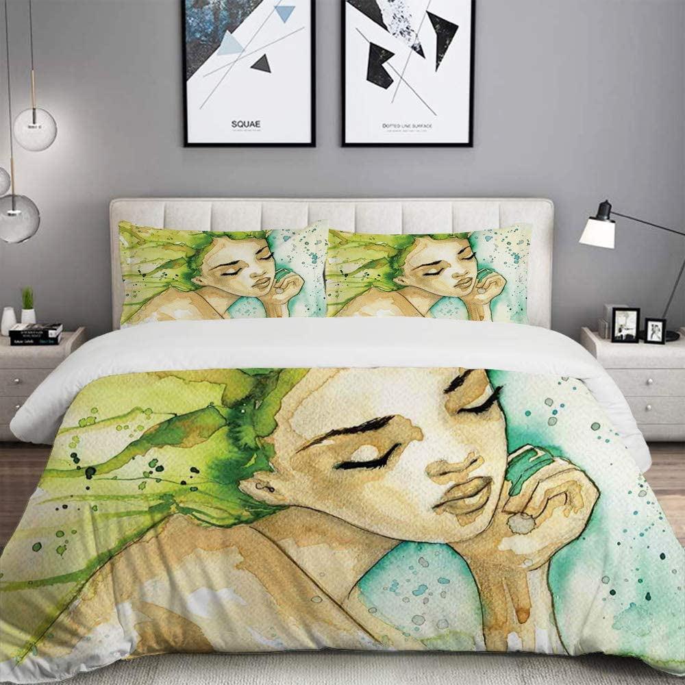 Lunasvt 3pc Bedding Set Abstract Watercolor Style Arrangement With Thinking Green Painted Hair Woman Grunge 1 Duvet Cover With 2 Matching Pillowcases Apartment Bedroom Decor Full Queen Home Kitchen