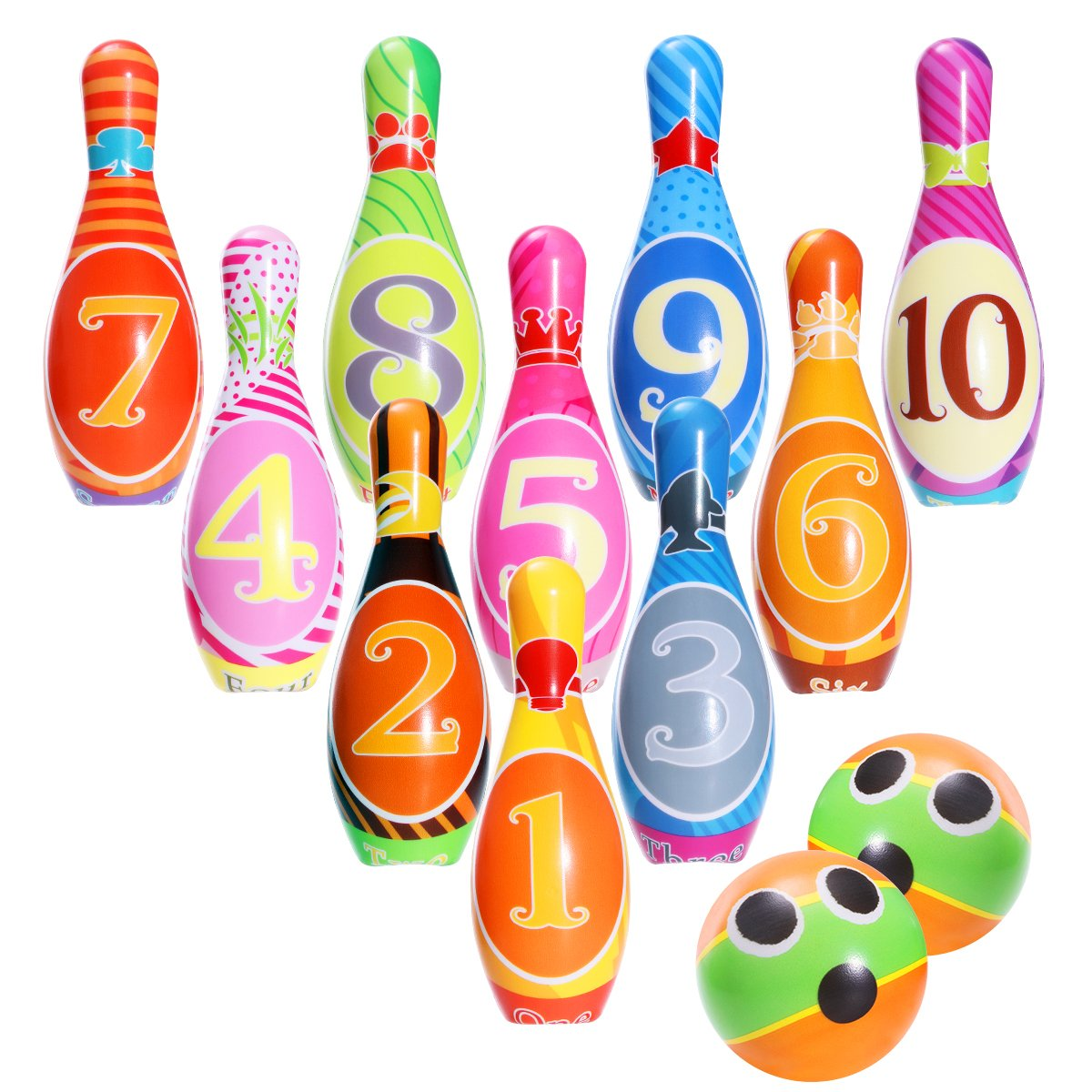 iBaseToy Kids Bowling Set, Bowling Games for Indoor & Outdoor Kids Bowling Play Set Foam Ball Toys Preschool Gifts For Early Development/Sport for Toddlers/Boys/Girls (10 Pins & 2 Bowling Balls)