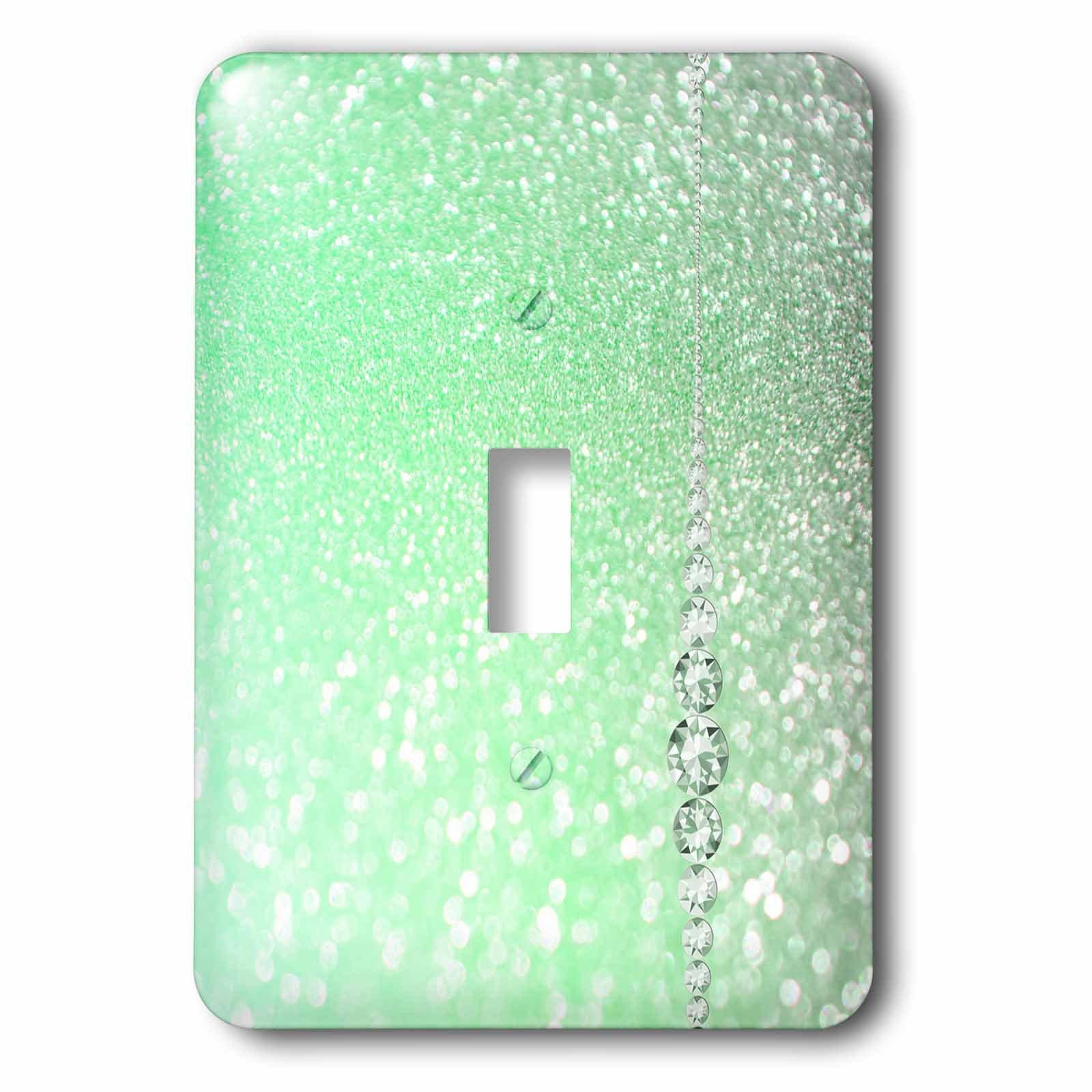 3dRose (lsp_266951_1) Single Toggle Switch (1) Sparkling Mint Green Luxury Elegant Mermaid Glitter Effect Art Print