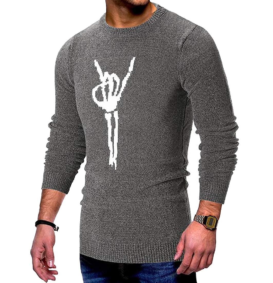 AngelSpace Men Slim Knit Long-Sleeve Floral Print Fashion Fall Winter Sweater