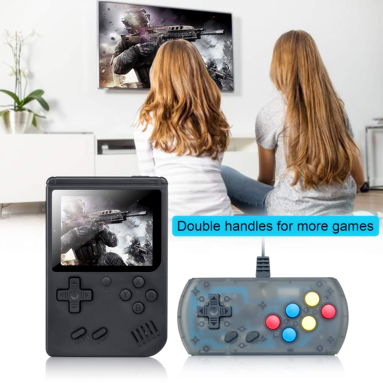 weikin Handheld Game Console, 168 Classic Games 3 Inch LCD Screen Portable Retro Video Game Console Support for Connecting TV and Two Players, Good Gifts for Kids and Adult. by weikin (Image #8)