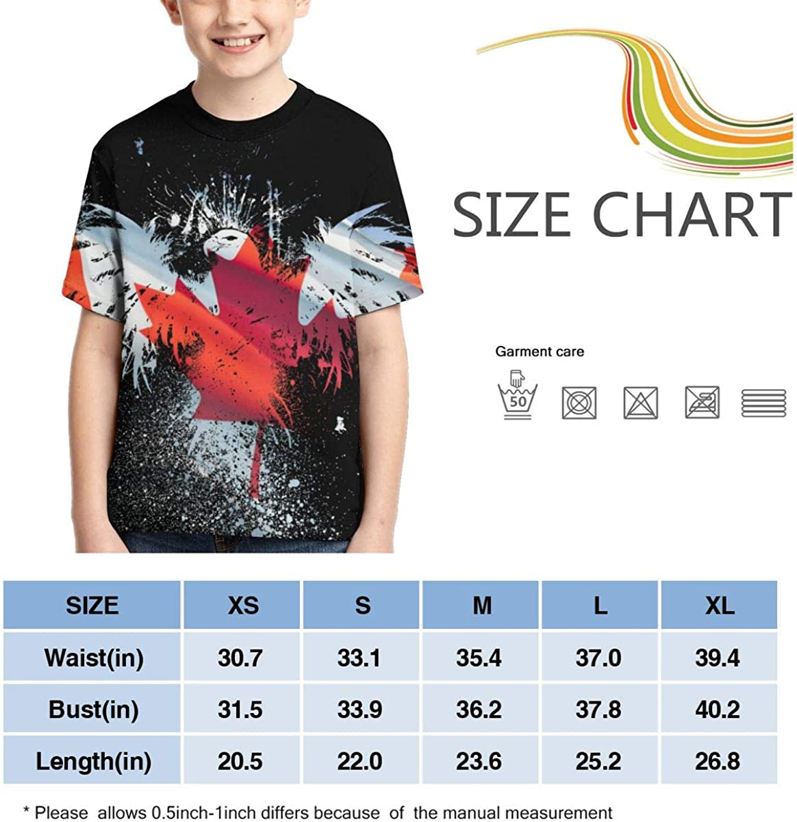 BIAN-64 Youth American Flag Eagle Casual 3D Pattern Printed Short Sleeve T-Shirts Top Tees