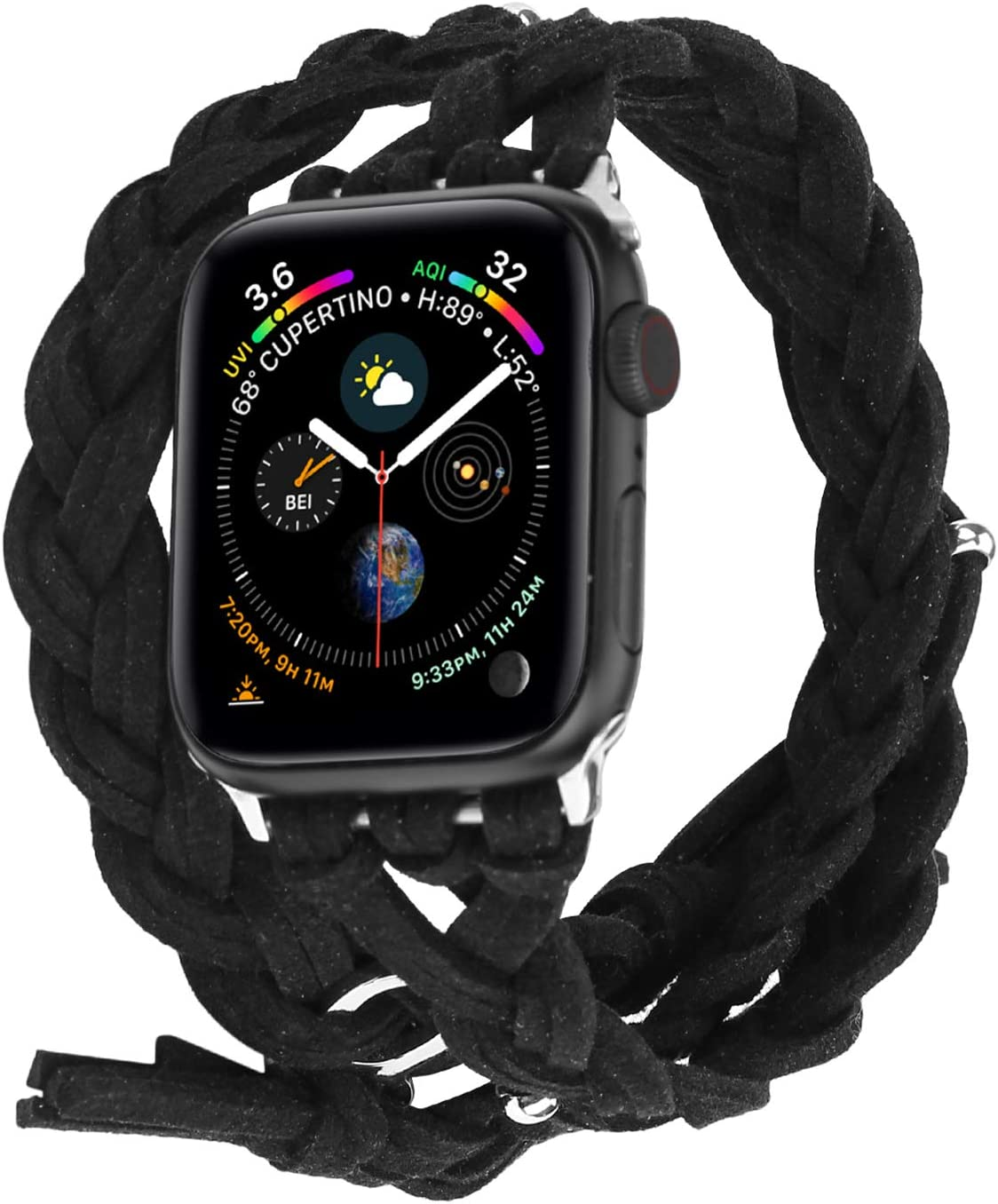 Compatible with Apple Watch Band 38mm 42mm 40mm 44mm, Woven Leather Smart Watch Strap Handmade Double Tour Bracelet Replacement for iWatch Series 5 4 3 2 1 Vintage Band (Black, 42mm)