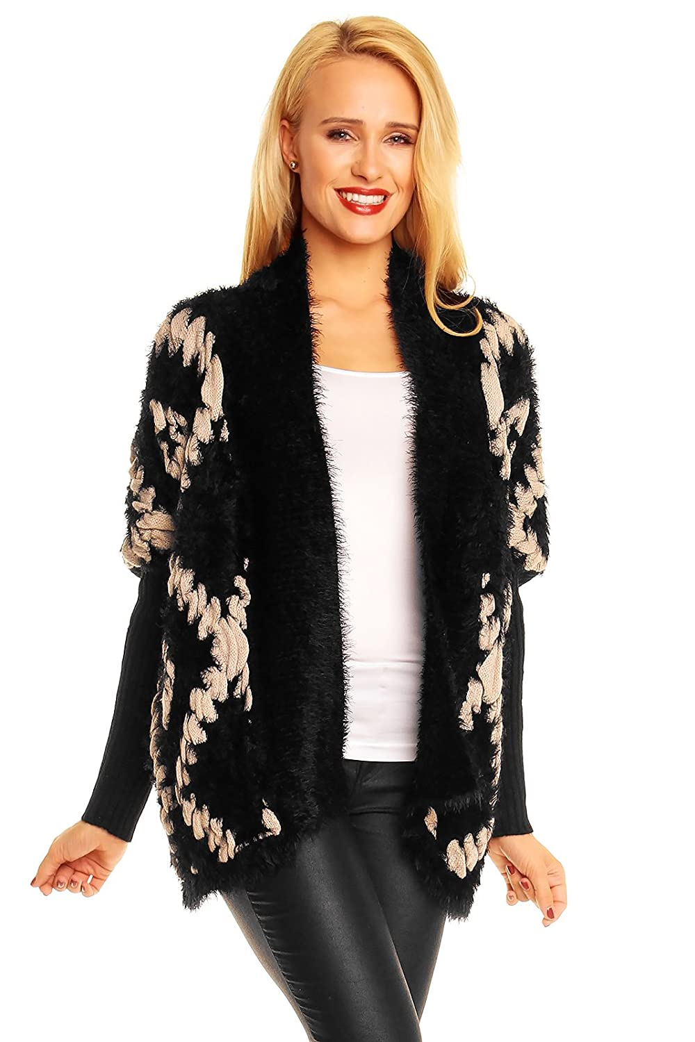 Poncho Cardigan Strickjacke Strickpullover Warm One Size S M L XL NEU 1078