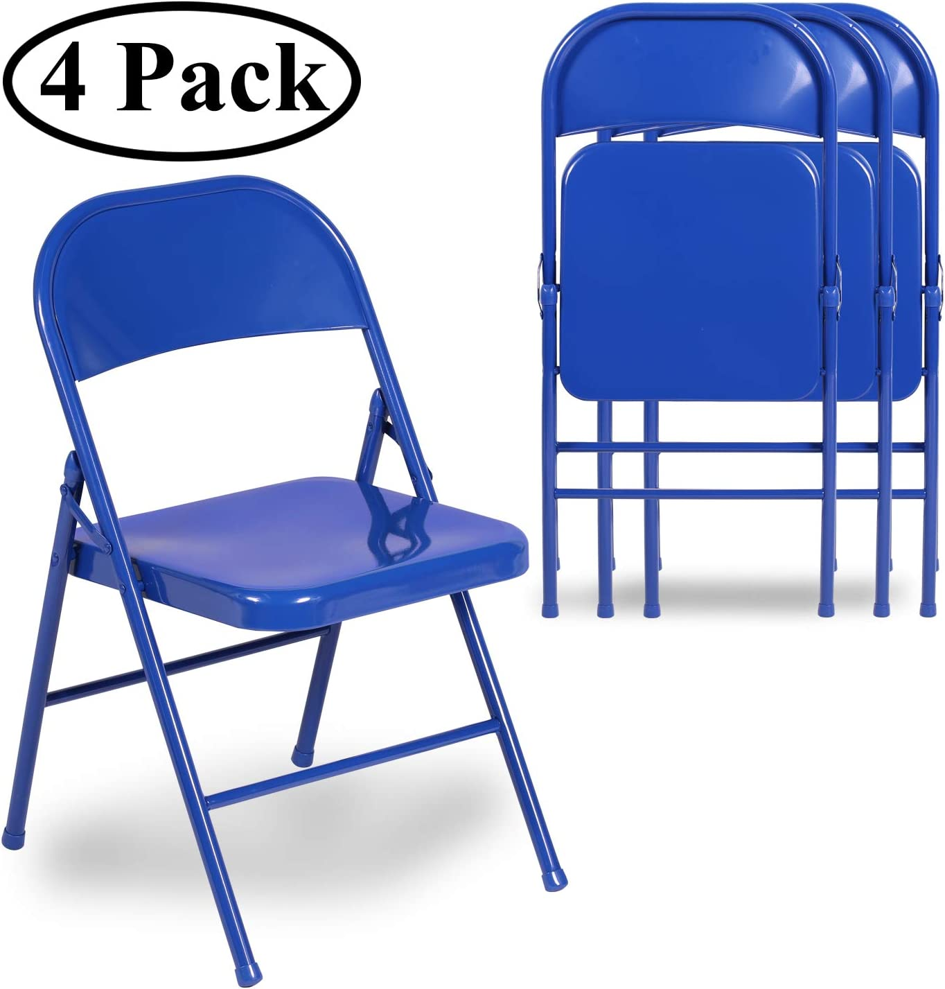 VECELO Folding Chair Triple Braced & Double Hinged Back with Metal Frame for Home Office, Blue
