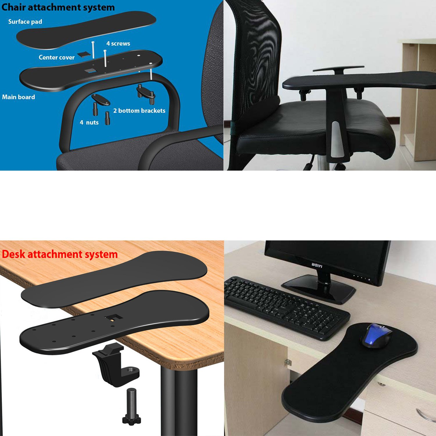 TRIXES Ergonomic Armrest Mouse Pad/Mat With Clamp For Chair Arm Or Desktop:  Amazon.co.uk: Office Products