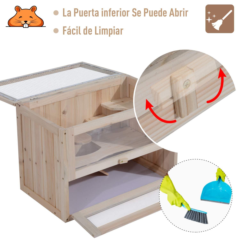 PawHut Jaula Madera para Hámster Ratoncillos Roedores Casa para Animales Pequeños 2 Niveles 60x35x42cm: Amazon.es: Productos para mascotas