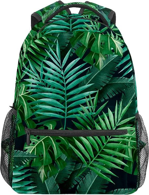 Mochila escolar verde tropical selva palmera hojas