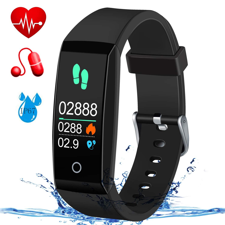 MSDJK Fitness Armband Pulsmesser Blutdruckmessgerät Schrittzähler IP67 Tracker