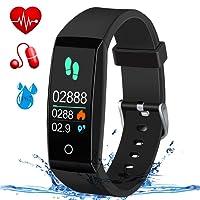 Fitness Tracker,MSDJK Orologio Fitness Activity Tracker braccialetto intelligente Display a colori .IP 67 Smartwatch,Pedometro,Cardiofrequenzimetro, misuratore della pressione sanguigna, rilevatore di sonno per uomini e donne compatibile IOS e Android(nero)