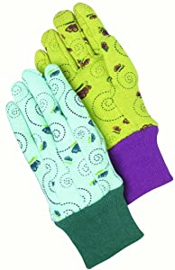 Magid Safety KD20TX Children's Glove | 12 Pairs of Children's Butterfly Print Jersey Gloves with a Floral Print - 6 Pairs (Turquoise/Navy) & 6 Pairs (Banana/Red)