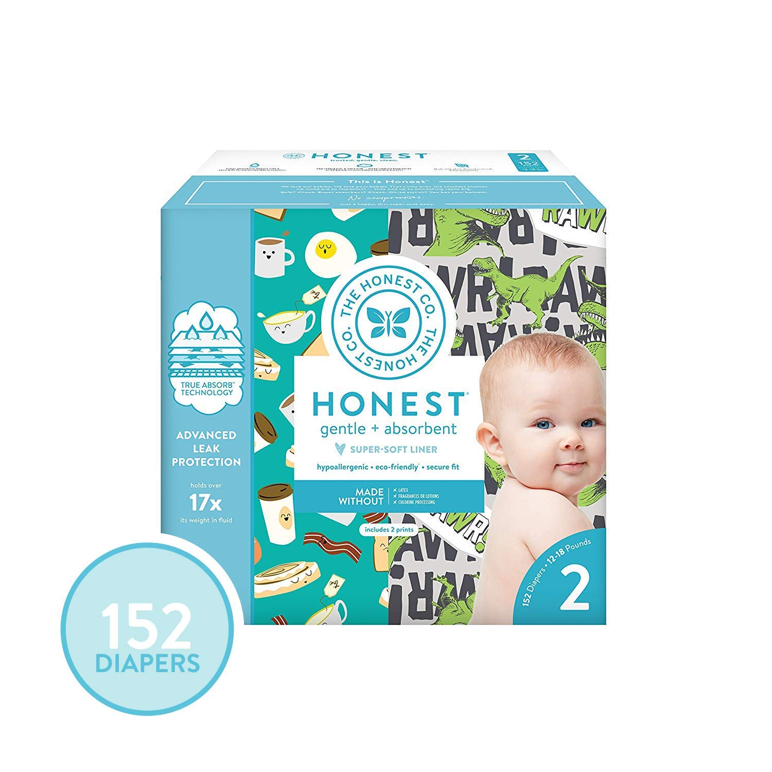 Rose Blossom /& Strawberries 100 Count Size 5 The Honest Company Super Club Box Diapers with TrueAbsorb Technology