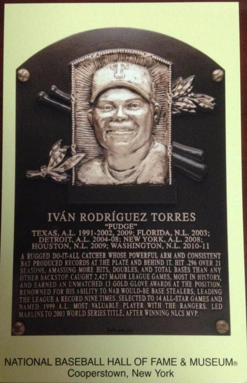 Ivan Rodriguez Stamped and Canceled Hall of Fame Gold Plaque Postcard