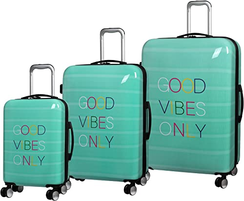 it luggage Sheen Hardside Expandable 3 Piece Set, Good Vibes Only Print