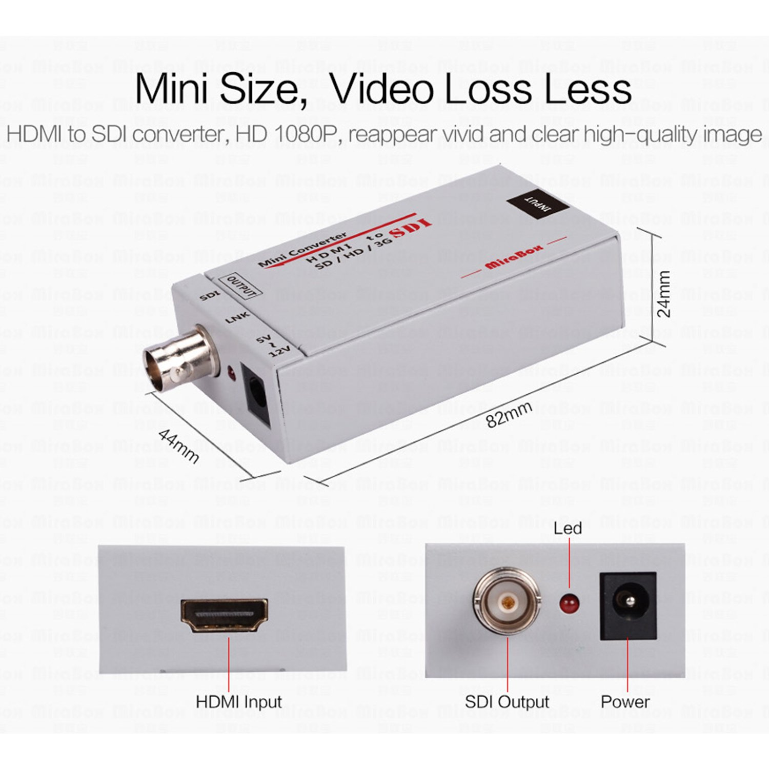 Mirabox HDMI to SDI Converter Scaler Adapter 1080P 1080i 720P 576i 480P MINI 3G with Coaxial Audio Output for Home Theater Cinema PC HD (Grey) by Mirabox (Image #3)