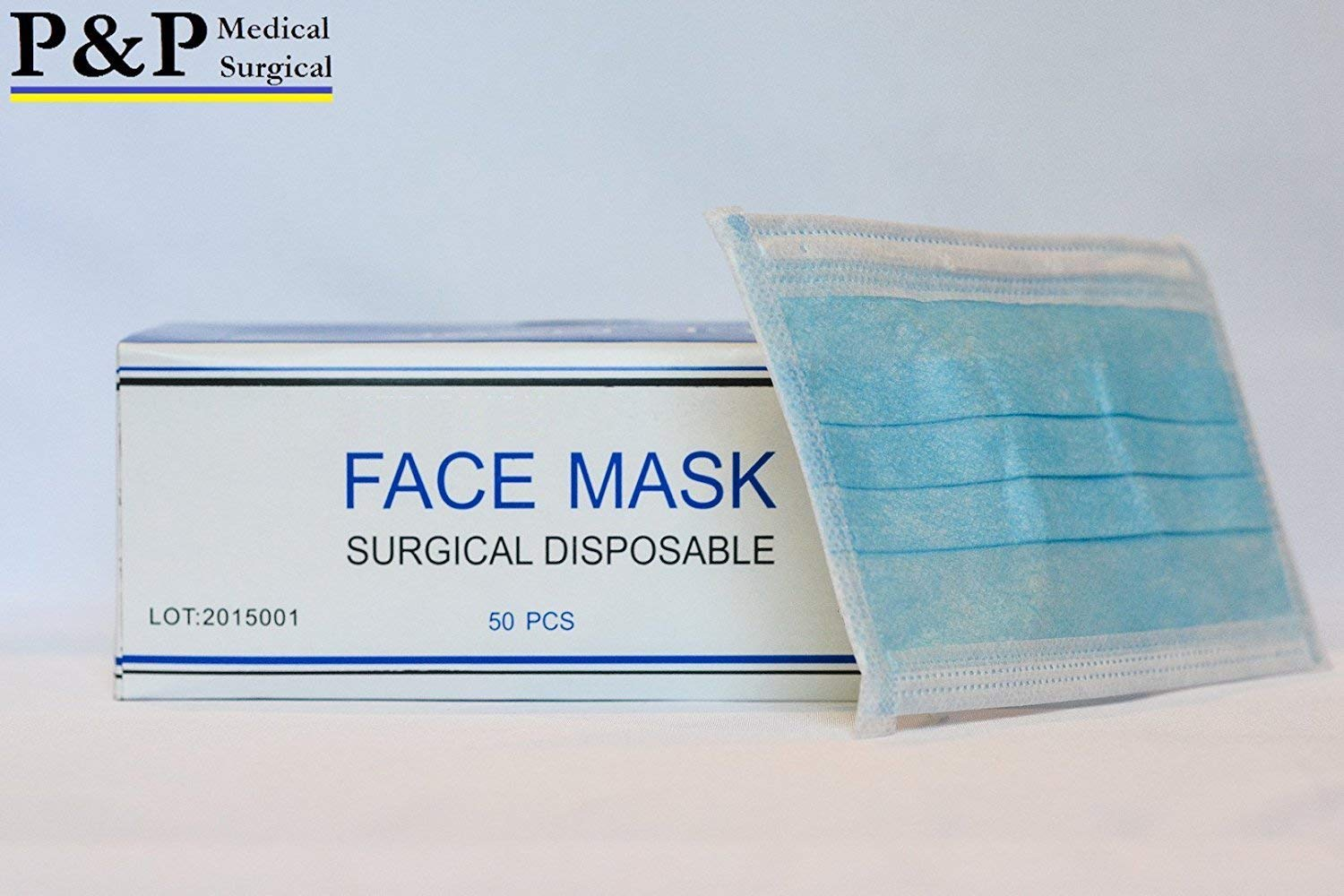 Disposable Medical Face Masks Sanitary Dental Surgical Hypoallergenic with Elastic Ear Loops 3-Ply Thick Resistance to Fluid & Blood Cotton Filter for Pollen Allergies & Dust Box of 500 by P&P Medical Surgical