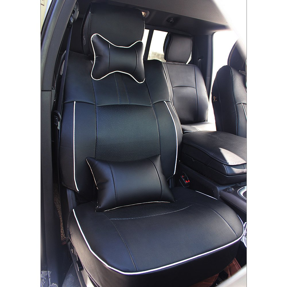Fly5D PU Leather Car Seat Covers Front Rear Seat Cushion Cover Full Sets Apply for 2009-2017 Dodge RAM 1500 2500 3500 (Black) by Fly5D (Image #3)