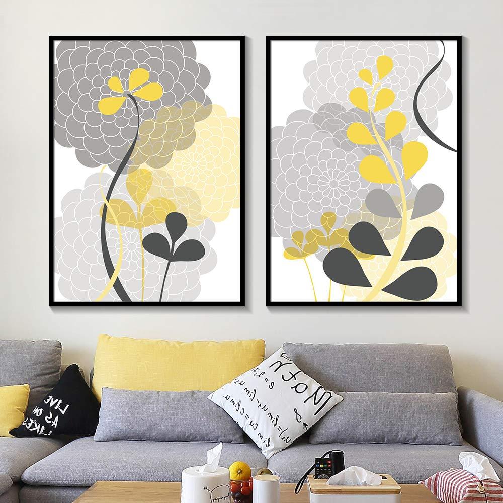 liwendi Patr/ón Floral Moderno Mam/á Moderno Planta Gris Carb/ón Amarillo Floral Lienzo Pintura Pared Artista Residencia Decoraci/ón 40 2 50 Cm